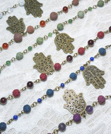 Hamsa Hand Charm & Lava Diffuser Bracelet